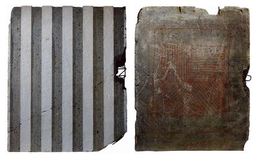 DANIEL BUREN, Gravure sur béton, 1990 - SOL LEWITT-Lignes dans quatre directions, 1990